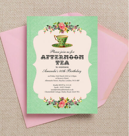 Vintage afternoon tea themed 40th birthday party invitation from vintage afternoon tea themed 40th birthday party invitation filmwisefo Image collections