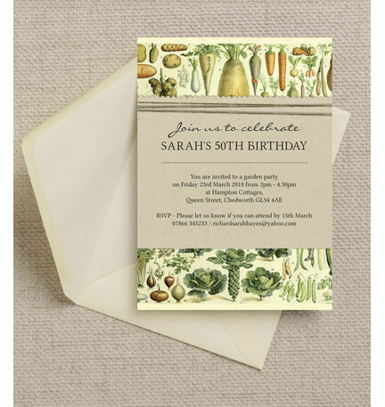 Gardening Allotment Themed Ladies 50th Birthday Party Invitation