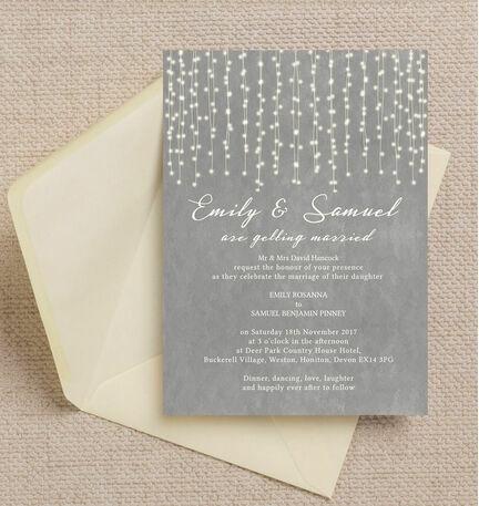 Dove Grey Fairy Lights Wedding Invitation from 100 each