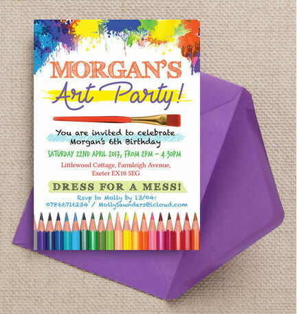 Art Craft Themed Birthday Party Invitation from 080 each
