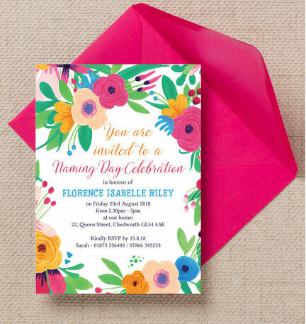 Floral Fiesta Naming Ceremony Day Invitation From  Each