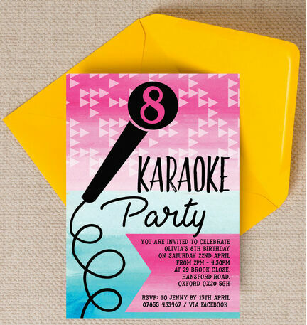 Karaoke themed birthday party invitation from 080 each karaoke themed birthday party invitation stopboris Choice Image