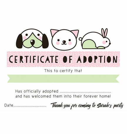 Pet Rescue Party Pretend 'Adoption Certificate' - Pink