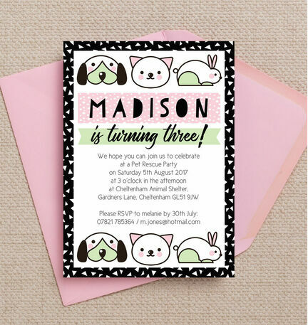 Pet rescue birthday party invitation pink from 080 each pet rescue birthday party invitation pink filmwisefo