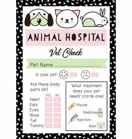 Pet Rescue Party Vet's Checklist - Pink