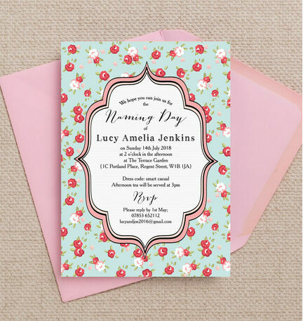 Vintage Rose Naming Ceremony Day Invitation