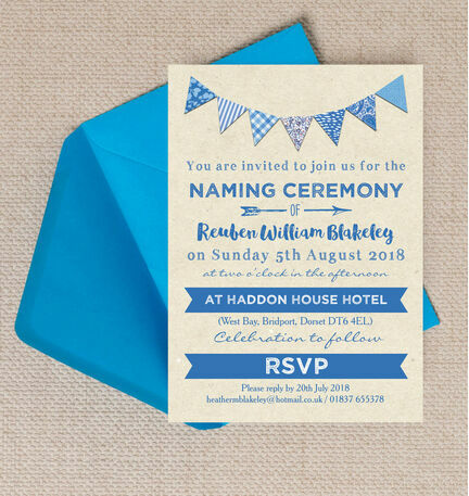 Blue Bunting Naming Ceremony Day Invitation From  Each