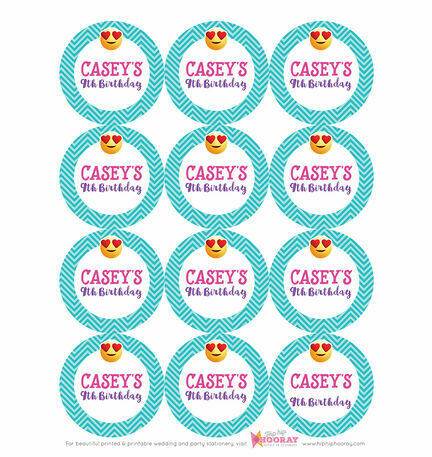 Emoji themed personalised stickers set of 12