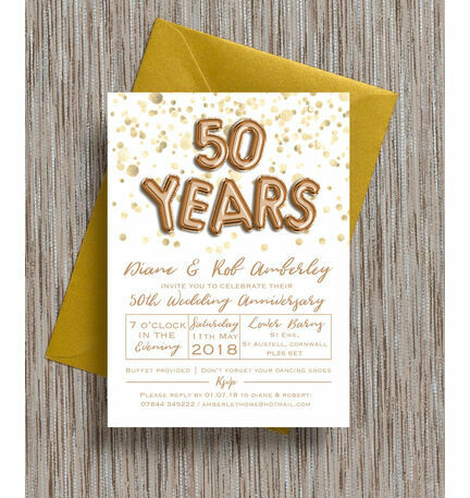 Gold Balloon Letters Th  Golden Wedding Anniversary Invitation