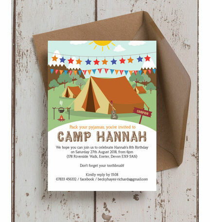 Camping themed birthday party invitation from 080 each camping themed birthday party invitation filmwisefo