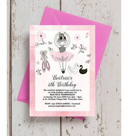 Prima ballerina birthday party invitation from 080 each prima ballerina birthday party invitation stopboris Image collections