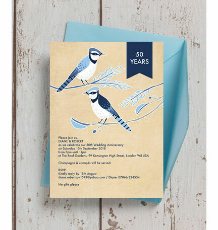 Painted Birds 50th / Golden Wedding Anniversary Invitation from ...