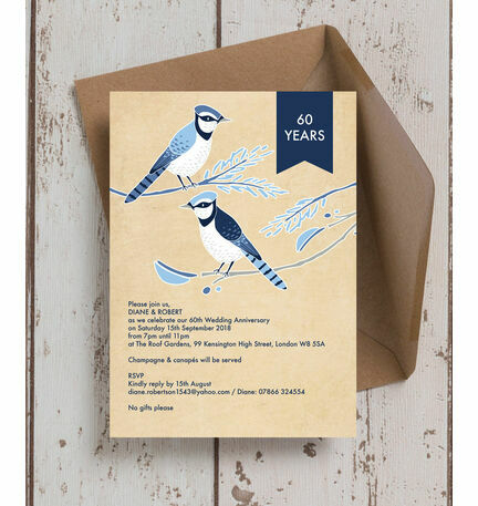 Painted Birds 60th Diamond Wedding Anniversary Invitation from