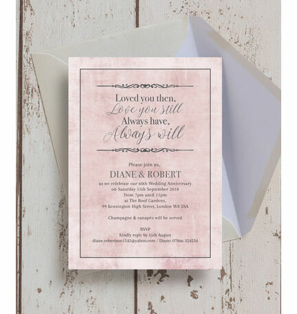 Pastel Pink Quote 60th Diamond Wedding Anniversary Invitation from