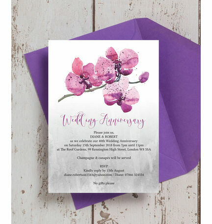 Orchid Flower 40th Ruby Wedding Anniversary Invitation from 100 each