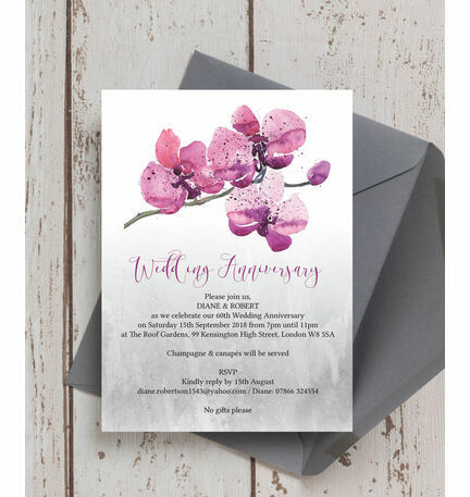 Orchid Flower 60th Diamond Wedding Anniversary Invitation from