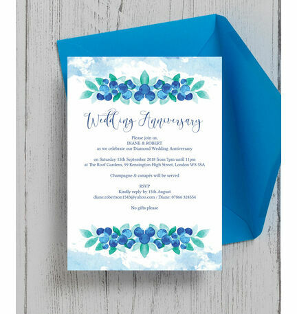 Blueberry 60th Diamond Wedding Anniversary Invitation from 100 each