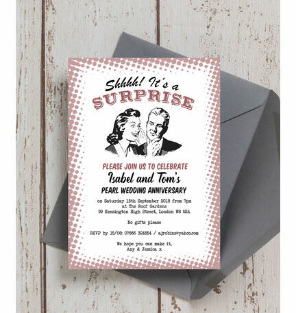 retro surprise 30th pearl wedding anniversary invitation