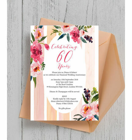 Painted Peonies 60th Diamond Wedding Anniversary Invitation from