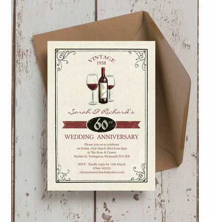 Vintage Wine Themed 60th Diamond Wedding Anniversary Invitation