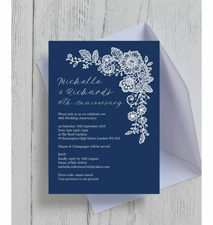 Navy blue floral lace wedding anniversary invitation from 090 each navy blue floral lace wedding anniversary invitation stopboris Images