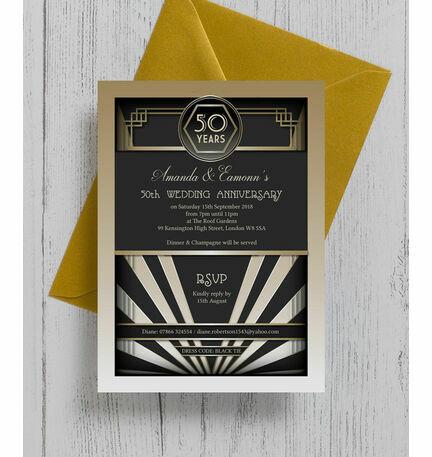 1920s art deco 50th golden wedding anniversary invitation from 1920s art deco 50th golden wedding anniversary invitation stopboris Gallery