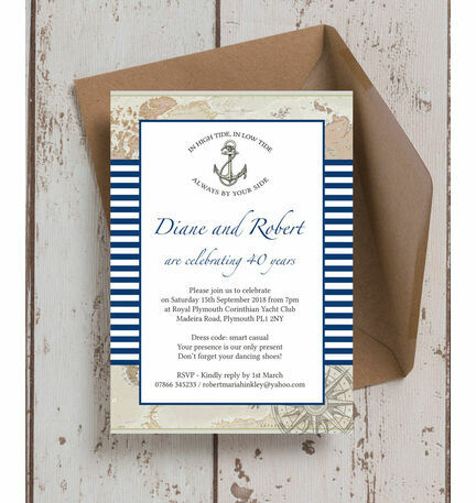 nautical themed 40th ruby wedding anniversary invitation from