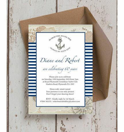 Nautical themed 60th diamond wedding anniversary invitation from nautical themed 60th diamond wedding anniversary invitation stopboris Choice Image