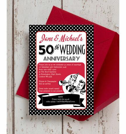 1960s retro rockabilly 50th golden wedding anniversary invitation 1960s retro rockabilly 50th golden wedding anniversary invitation stopboris Choice Image