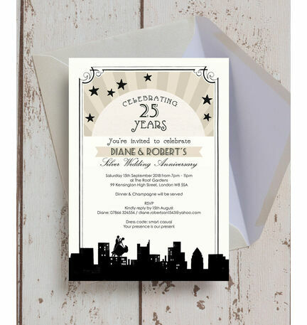vintage hollywood 25th silver wedding anniversary invitation from