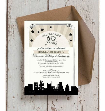 Vintage Hollywood Wedding Anniversary Invitation from £1.00 each