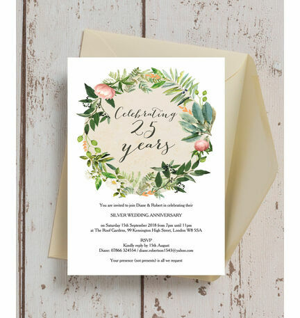 Floral Wreath Th  Silver Wedding Anniversary Invitation From