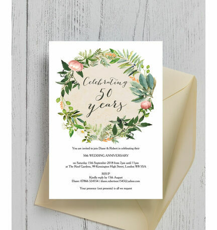 Floral Wreath 50th / Golden Wedding Anniversary Invitation from ...