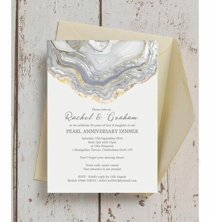 Agate crystal 30th pearl wedding anniversary invitation from 100 agate crystal 30th pearl wedding anniversary invitation stopboris Choice Image