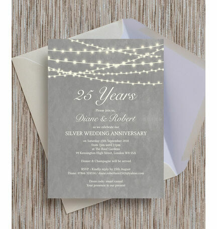 Grey Fairy Lights Th  Silver Wedding Anniversary Invitation From