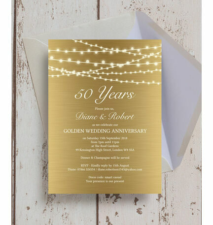 Gold Fairy Lights Th  Golden Wedding Anniversary Invitation From