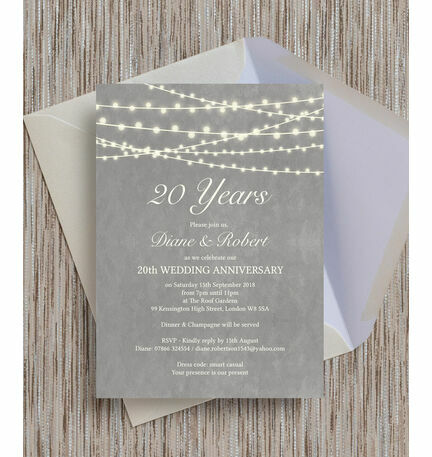 Grey Fairy Lights Wedding Anniversary Invitation From  Each