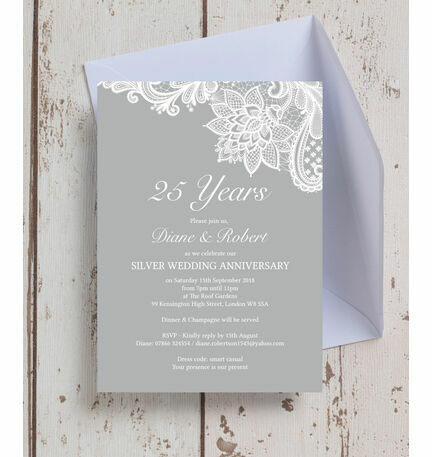 Vintage lace themed 25th silver wedding anniversary invitation vintage lace themed 25th silver wedding anniversary invitation solutioingenieria Gallery