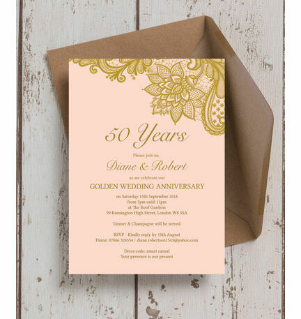 Gold Lace Inspired 50th / Golden Wedding Anniversary Invitation