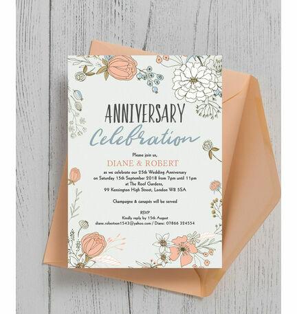 Wild flowers 25th silver wedding anniversary invitation from 100 wild flowers 25th silver wedding anniversary invitation stopboris Gallery