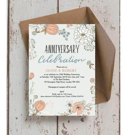 Wild flowers 30th pearl wedding anniversary invitation from 100 each wild flowers 30th pearl wedding anniversary invitation solutioingenieria Images