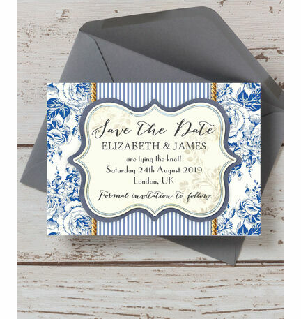 French Toile Save the Date