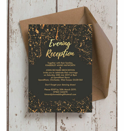 black and gold wedding invitations black amp gold abstract evening reception invitation from 163 0 1803