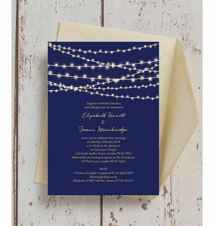 Navy Blue U0026 Gold Fairy Lights Wedding Invitation
