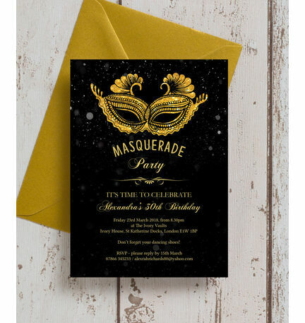 Masquerade themed 30th birthday party invitation from 100 each masquerade themed 30th birthday party invitation filmwisefo Image collections