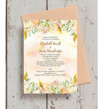 Gold Floral Wedding Invitation
