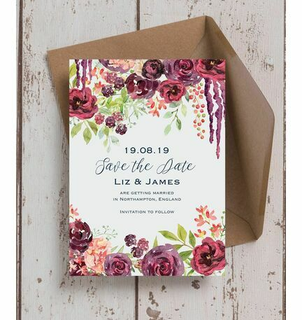 burgundy watercolour floral save the date from 0 85 each