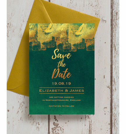Emerald & Gold Save the Date from £0.85 each