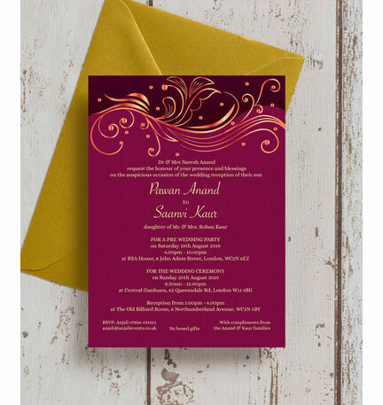 Burgundy Rose Gold Indian Asian Wedding Invitation from 100 each