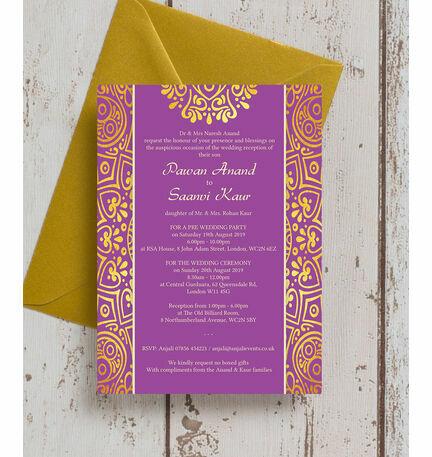 Purple Mandala Indian / Asian Wedding Invitation